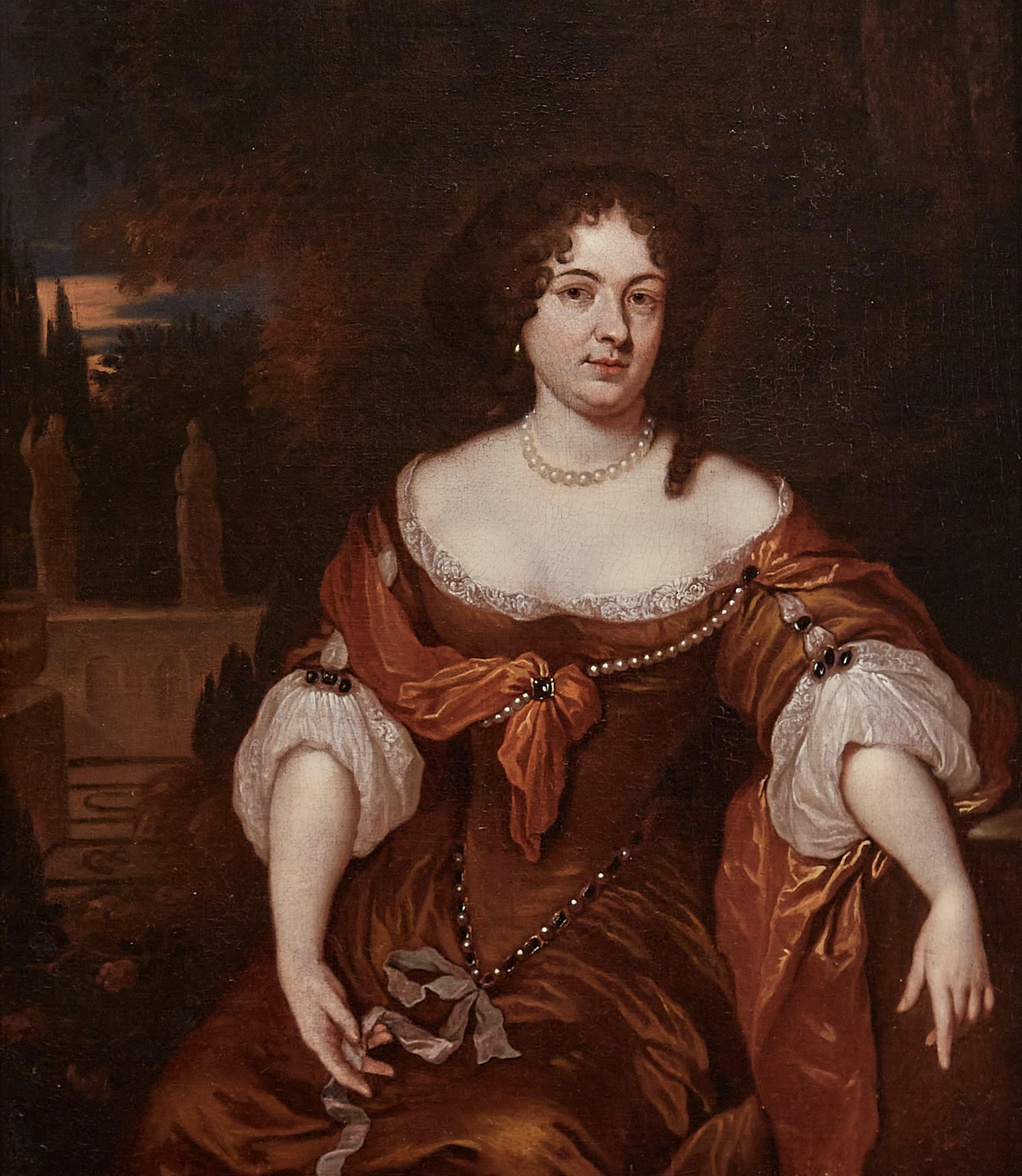 17th century Dutch Portrait Painting of a Lady seated in a landscape