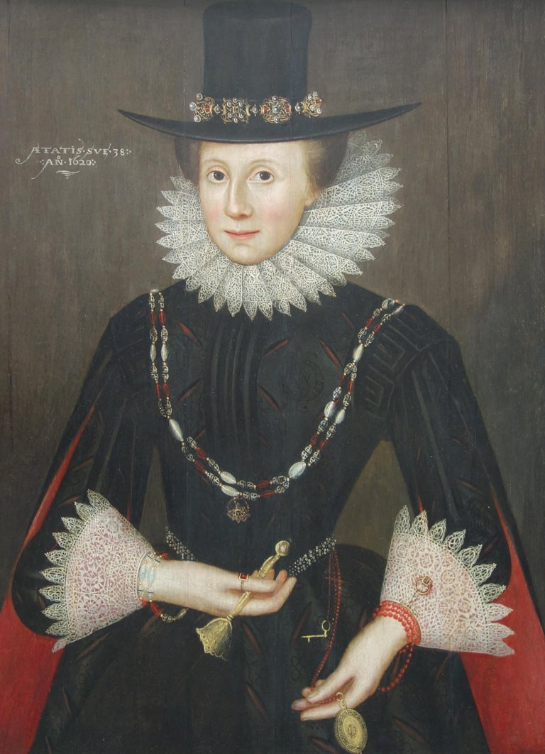 Circle of Marcus Gheeraerts the Younger Portrait Painting - Pair of early 17th century Jacobean Portraits of Jane and William de Malbone