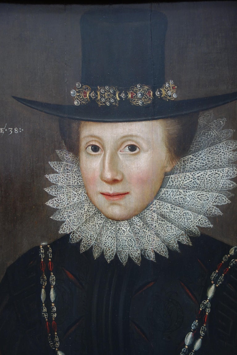 Pair of early 17th century Jacobean Portraits of Jane and William de Malbone - Old Masters Painting by Circle of Marcus Gheeraerts the Younger