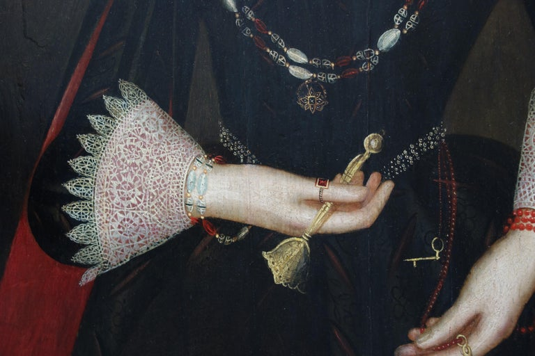 Pair of early 17th century Jacobean Portraits of Jane and William de Malbone - Brown Portrait Painting by Circle of Marcus Gheeraerts the Younger