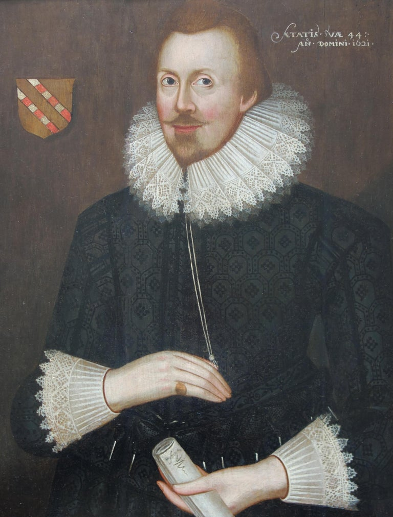 Pair of early 17th century Jacobean Portraits of Jane and William de Malbone For Sale 3