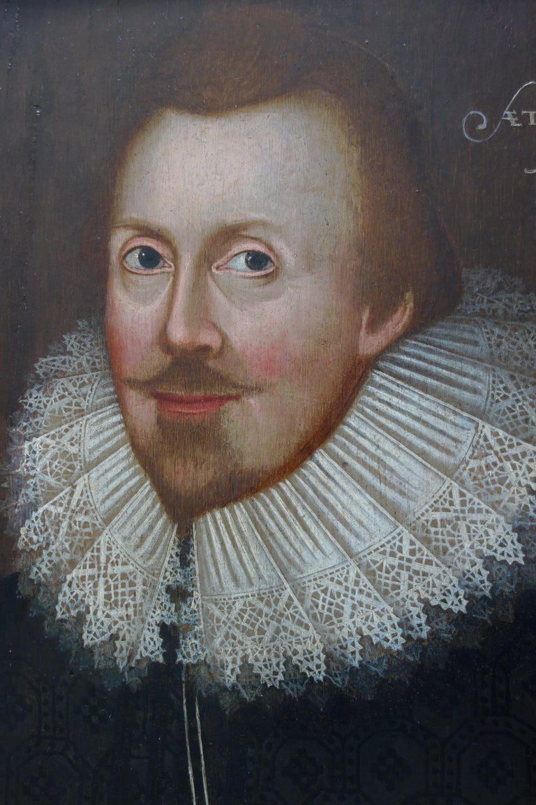 Pair of early 17th century Jacobean Portraits of Jane and William de Malbone For Sale 5