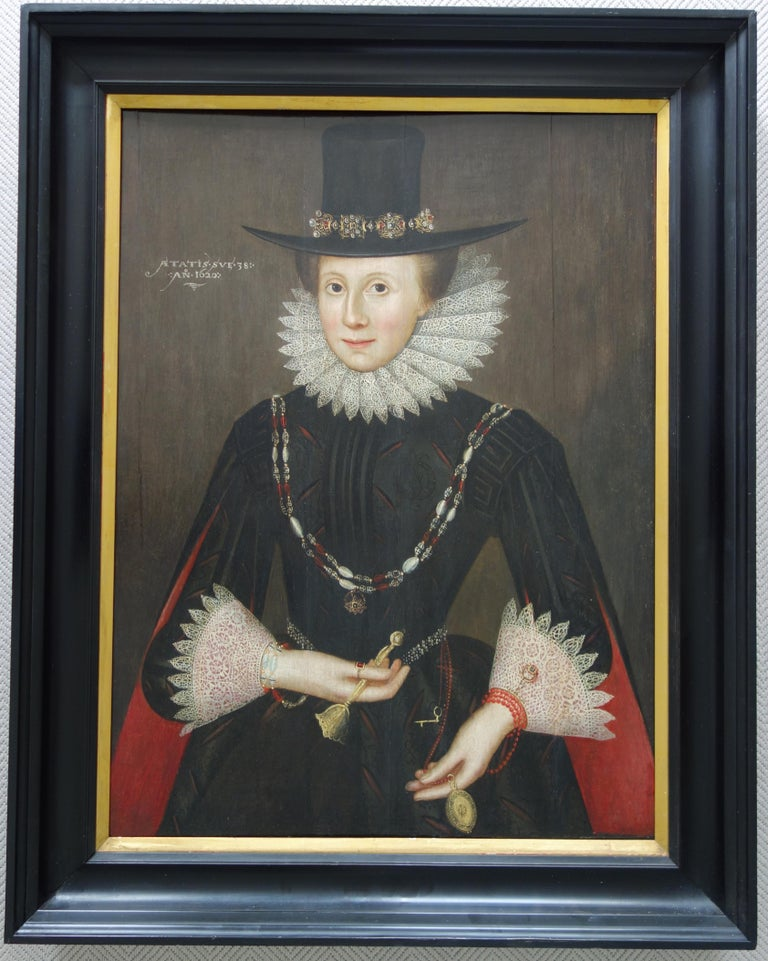 Pair of early 17th century Jacobean Portraits of William and Jane de Malbone For Sale 7