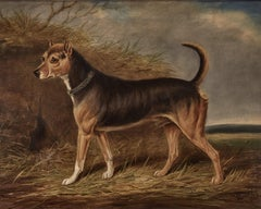 19th century study of a terrier in an English landscape, signed 1846