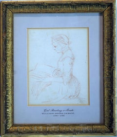 Study of a girl sitting and reading a book