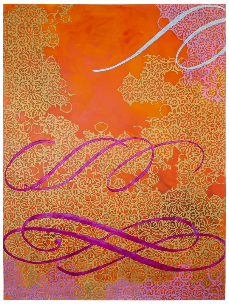 Carole Silverstein Abstract Painting - cursive reorients the mind