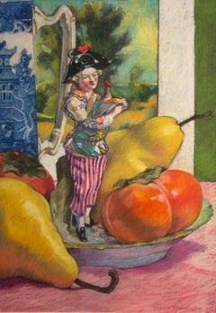 "Terry Furchgott, ""Chelsea Boy with Rooster and Persimmons"", 2014, 26"" x 18"""
