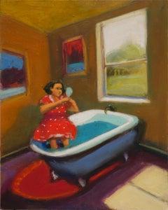 """Lois Silver, """"I'm So Pretty"""", 2018, oil on board, 10"""" x 8"""""""