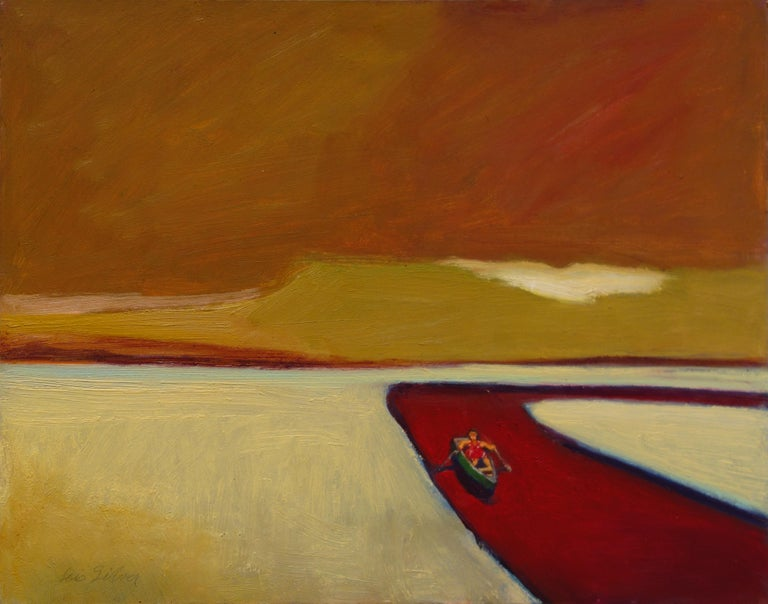 """Lois Silver, """"Red River"""", 2018, oil on board, 11"""" x 14"""" - Painting by Lois Silver"""