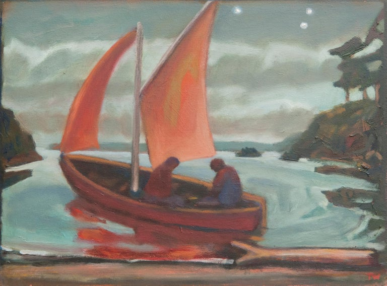 """Thomas Wood, """"Red Sail"""", 2017, oil on linen, 12"""" x 16"""" - Painting by Thomas Wood"""