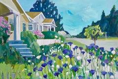 "Lisa Snow Lady, ""Neighborhood Blues"", 2018, acrylic on canvas, 24"" x 36"""