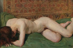Nude of a woman. Sensual portrait of a girl on a bed with colored tapestries