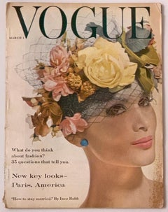 Original Vogue Magazine March 1959 Issue Floral Pink Yellow Hat Cover