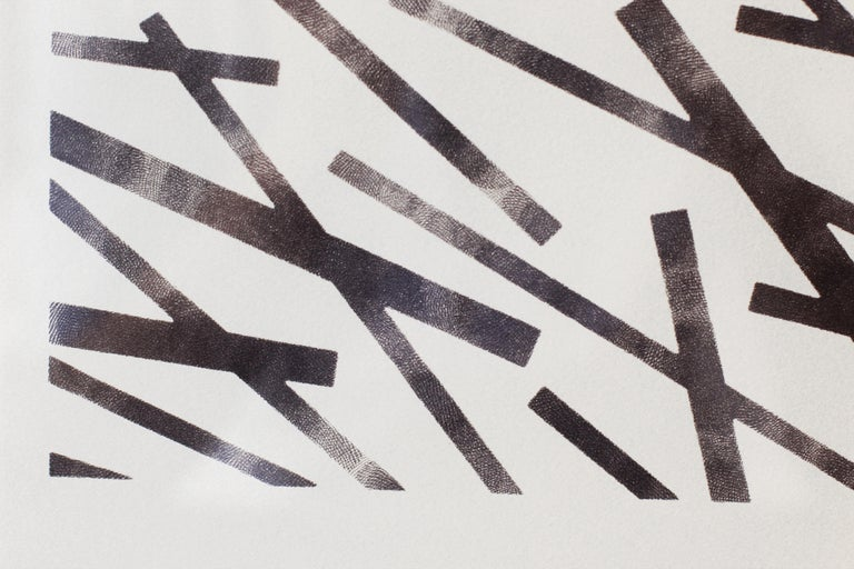 Central 9-10 is a set of two graphite drawings on paper. From far away, the drawings look like webs of long and narrow rectangles, but up close these rigid forms yield to fingerprints.  Chasing the concept and theory of uncertainty, Calip