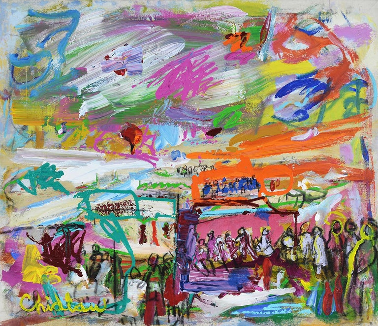 An elegant and colorful abstract, this painting exhibits all of the most desirable attributes of Paul Chidlaw's most sought after paintings. Within the painting are figures in a landscape. The colors are incredibly vibrant and the strokes are
