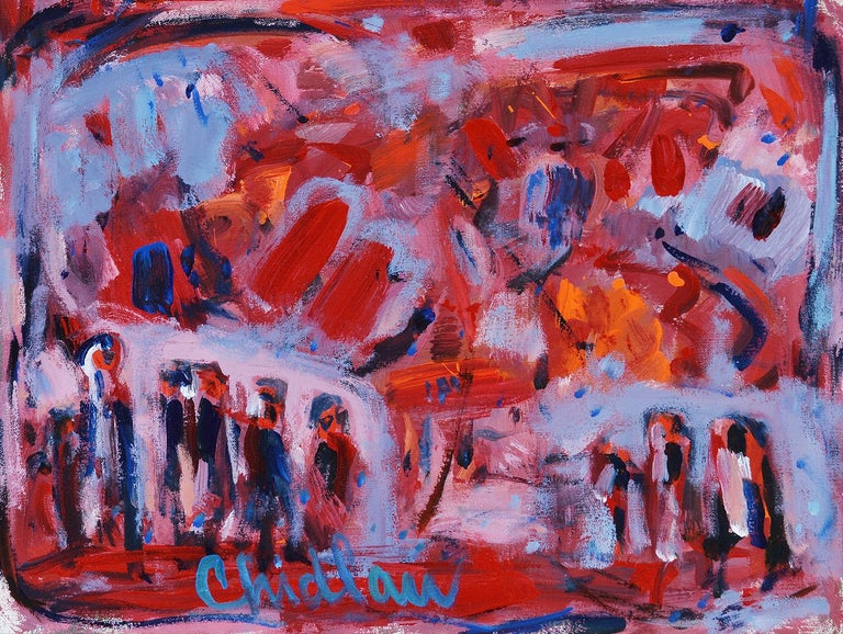 This is a classic version of the signature sought after work that Paul Chidlaw created in his most prolific years as an artist. The painting depicts an abstracted landscape with figures in the foreground. Chidlaw's paintings with the inclusion of