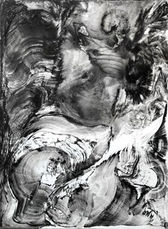 Large black and white graphite work on paper ENIGMA 2017 60x80 by Zayichenko