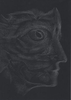 912019 TRSQ 1251A SSSS Chelsea London UK Drawing silver pencil on black paper A4