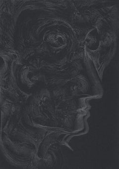 912019 TRSQ 1101P SSSS Chelsea London UK Drawing silver pencil on black paper A4