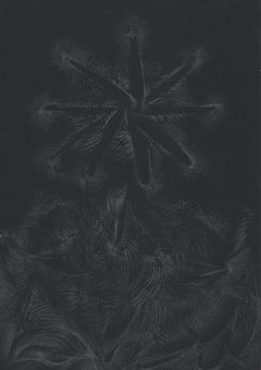 912019 TRSQ 316A SSSS Chelsea London UK Drawing silver pencil on black paper A4