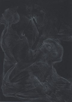 912019 TRSQ 336A SSSS Chelsea London UK Drawing silver pencil on black paper A4