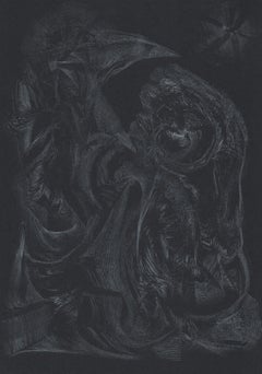 3112019 TRSQ 237A SSSS Chelsea London UK Drawing silver pencil on black paper A4