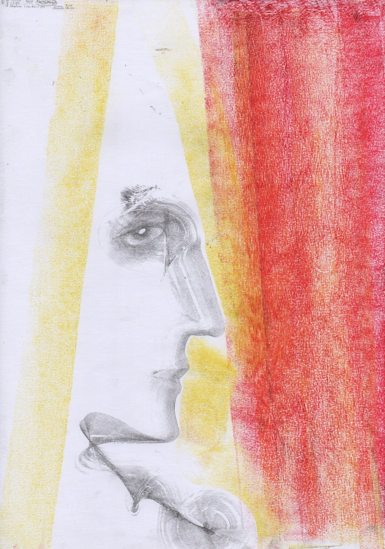 Volodymyr Zayichenko Abstract Drawing - Abstract portrait drawing - paper, yellow red colour painting oil pastel art