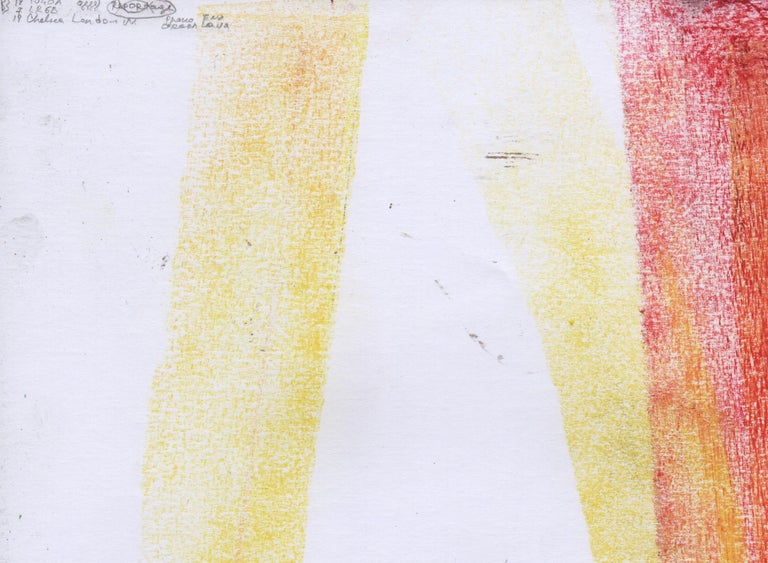Abstract portrait drawing - paper, yellow red colour painting oil pastel art - Beige Abstract Drawing by Volodymyr Zayichenko