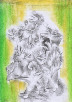 Abstract portrait drawing - paper, yellow green colour painting oil pastel art