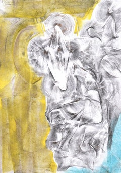 Abstract portrait drawing - paper, yellow blue colour painting oil pastel art