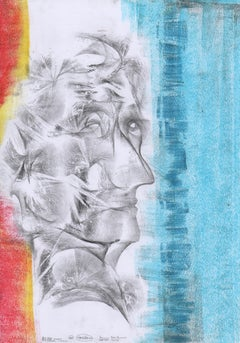 Abstract portrait drawing - paper, yellow red yellow painting oil pastel art