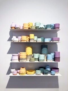 Ceramic Vessel Wall Installation with Shelving, 48 Individual Pieces, Colorful
