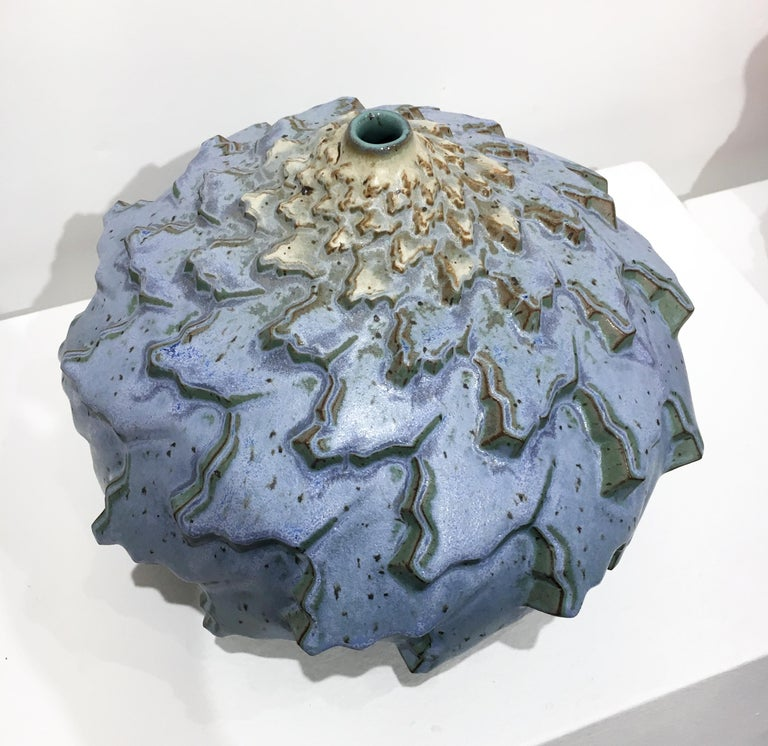 Rain Bands, Stoneware Ceramic Sculpture with Repeating Geometric Pattern, Glaze For Sale 3