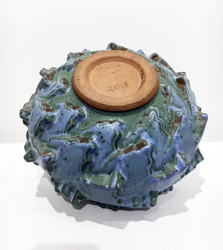 Rain Bands, Stoneware Ceramic Sculpture with Repeating Geometric Pattern, Glaze For Sale 4