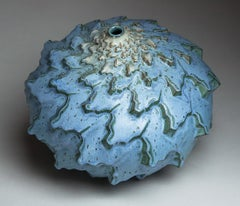 """Rain Bands"", Contemporary, Ceramic, Sculpture, Stoneware, Glaze, Geometric"