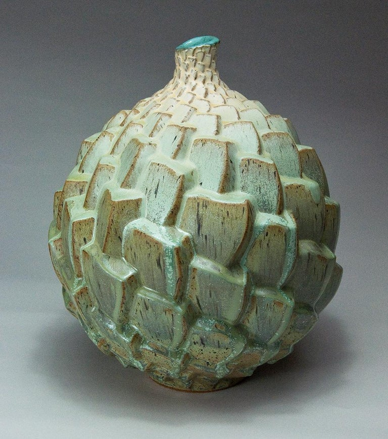 Judith Ernst Abstract Sculpture - Autumnal Equinox 02, Stoneware Ceramic Sculpture with Repeating Pattern, Glaze