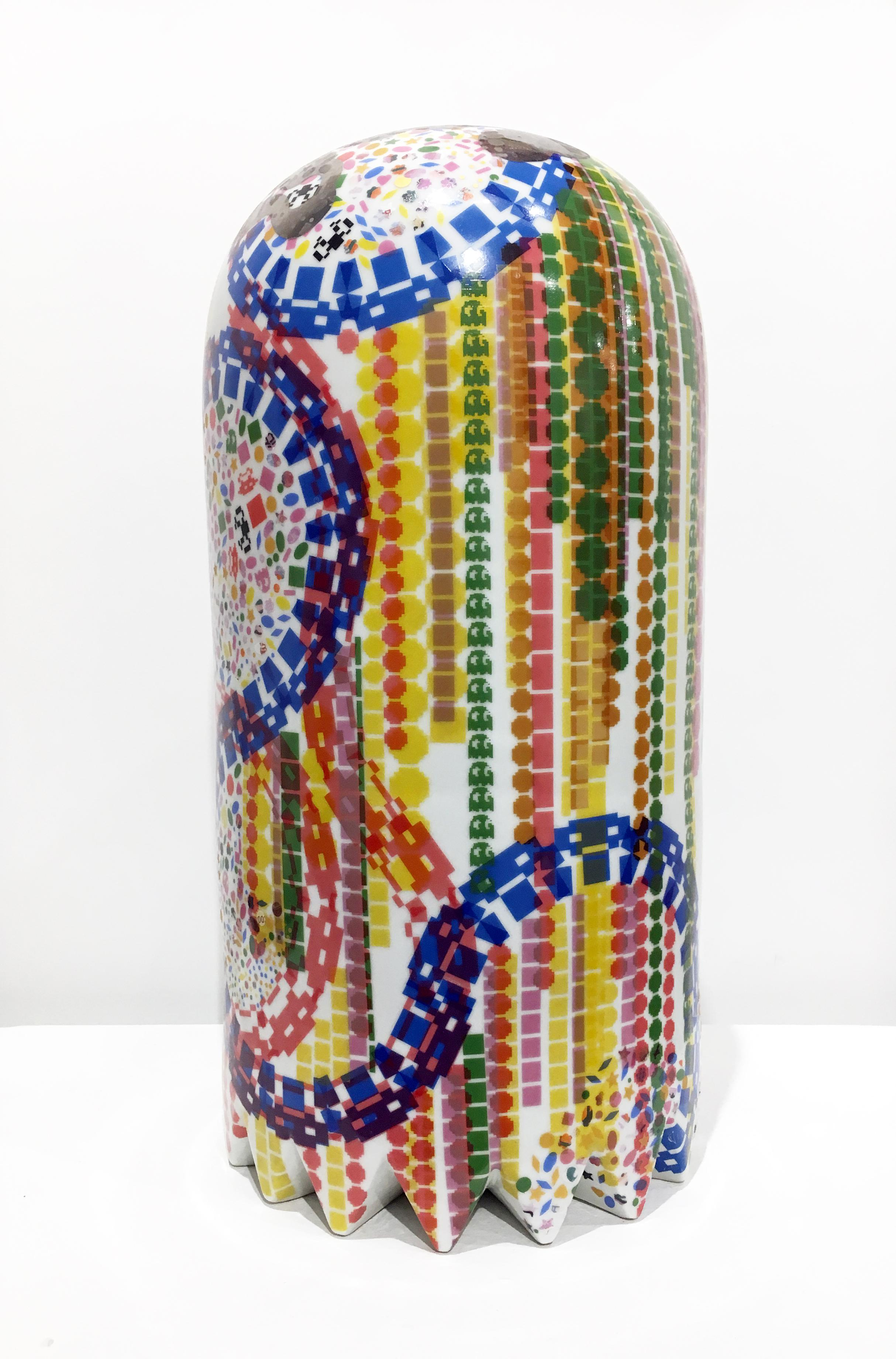 Contemporary Porcelain Sculpture with Intricate Ceramic Decals, Colorful Pattern