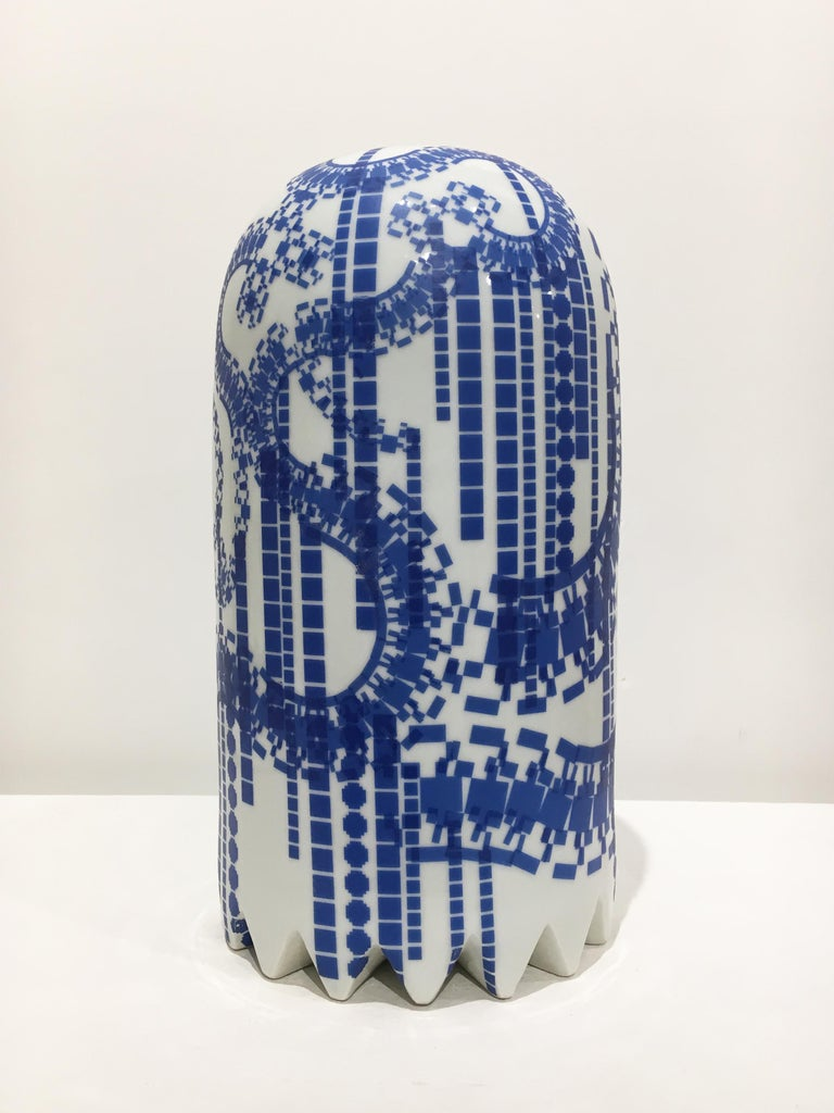 Ghost with Blue Decals, Contemporary Ceramic Porcelain Sculpture - White Abstract Sculpture by Jesse Small