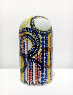Medium Sized Contemporary Ceramic Sculpture with Colorful Decals, Porcelain