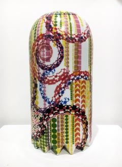 Contemporary Ceramic Sculpture with Colorful Decal Pattern, Porcelain with Glaze