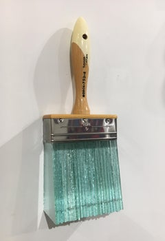 Glass Brush, Contemporary Surrealist Mixed Media Sculpture with Wood and Metal