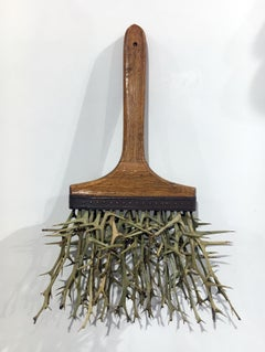 """Thorn Brush"", Contemporary Surrealist Mixed Media Sculpture, Organic Material"