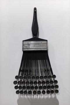 """Typewriter Brush"", Contemporary Surrealist Mixed Media Sculpture, Metal, Wood"