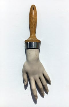 """Mannequin Hand Brush"", Contemporary Surrealist Mixed Media Sculpture"
