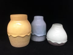Set of Three Ceramic Vessels, Contemporary Design, Colorful Glazed Stoneware