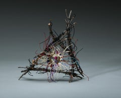 Comet 150, Mixed Media Textile Sculpture with Waxed Linen, Wood, and Minerals