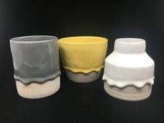 Set of Three Ceramic Vessels, Contemporary Design, Glaze and Stoneware