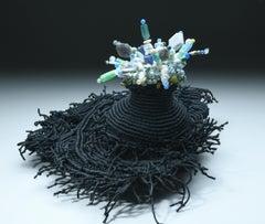 """Volcano 07"", Contemporary Mixed Media Sculpture with Semi Precious Stones"