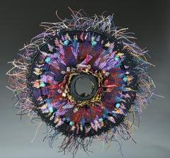Contemporary Mixed Media Textile Sculpture with Linen and Semi Precious Stones