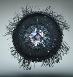 Contemporary Mixed Media Textile Sculpture with Linen and Semi Precious Stones